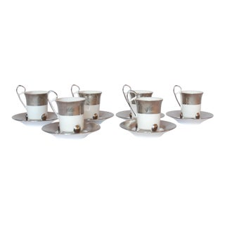 Vintage Yamashige Porcelain Platinum Espresso Demitasse Cups & Saucers - Set of 12 For Sale