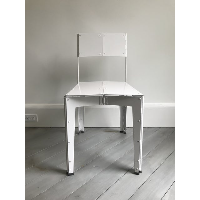 Aluminum Folding Chair, manufactured completely with laser cut aluminum plate in white polished lacquer, by Australian...