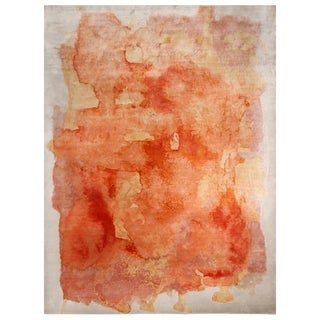 """Contemporary Rose Orange and Silver Silk Rug-9'x12"""" For Sale"""
