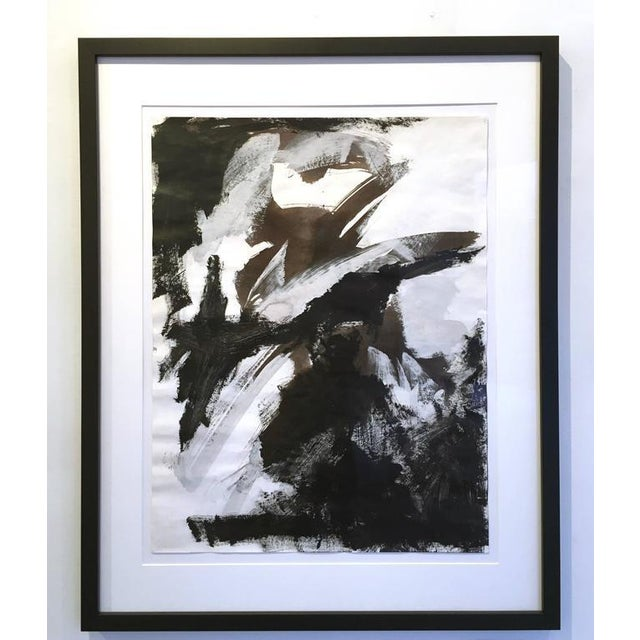 Acrylic Paint Stephanie Cate Abstract Europa 30 Study Black and White Acrylic Painting on Paper For Sale - Image 7 of 7