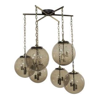 Lightcraft of California Chandelier With 6 Cascading Smoke Glass Orb Globes Brass Star Canopy For Sale