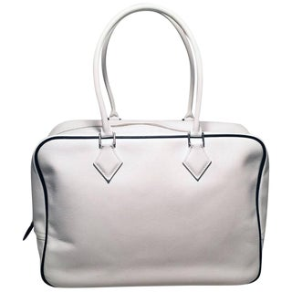 Hermes Black and White Veau Grain Leather Plume Tote Handbag For Sale