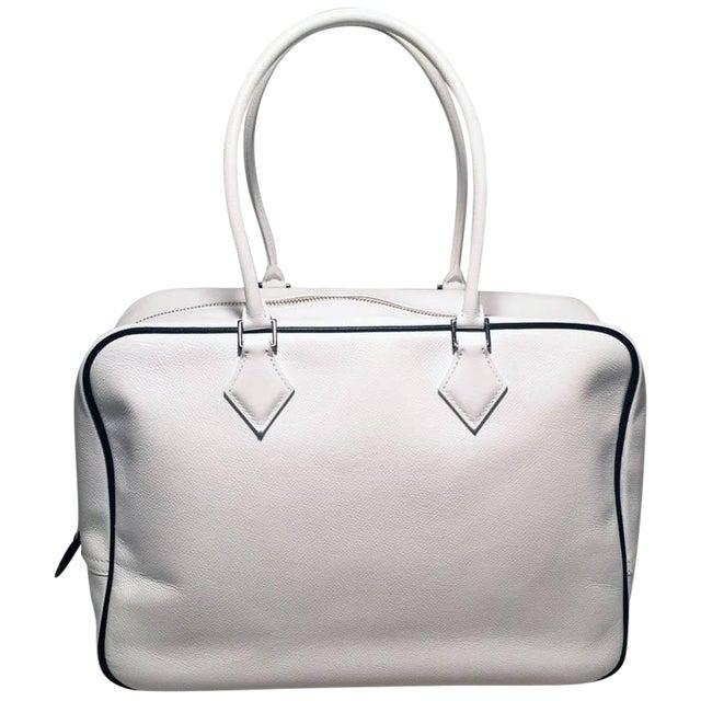 Hermes Black and White Veau Grain Leather Plume Tote Handbag For Sale