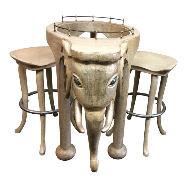 Marge Carson Elephant Bar & Stools - Set of 3 For Sale