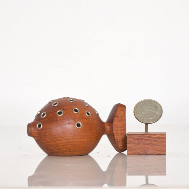 For your pleasure Vintage Mid Century Modern: Whimsical Teak Puffer Fish Toothpick Holder Appetizer Server from DENMARK....