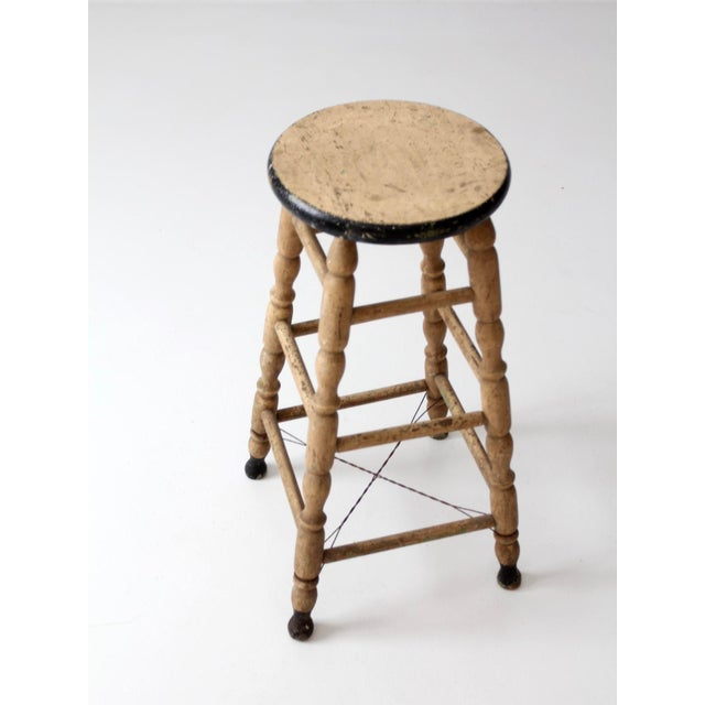 Metal Antique Turned Leg Stool For Sale - Image 7 of 8
