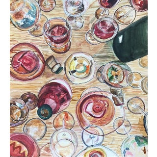 """Sophie Hoad Halma """"My Favorite Sound Is the Pop of a Champagne Cork"""" Original Watercolor Painting For Sale"""