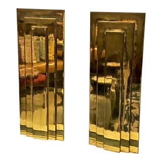 Pair of French Moderne Solid Brass Andirons For Sale