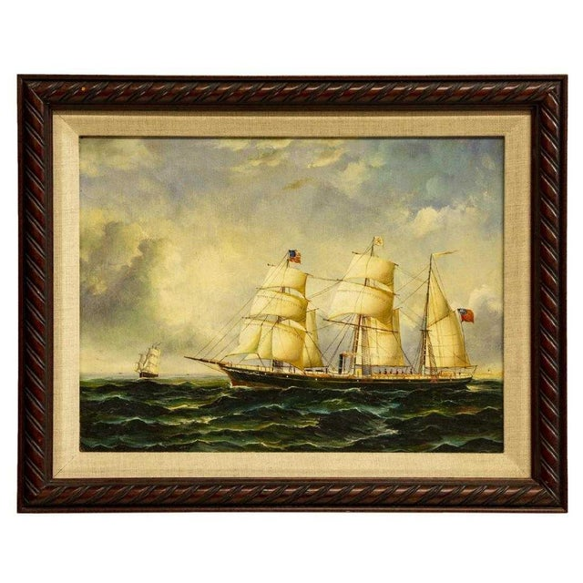 """Mid 20th Century """"Clipper Ships"""" Framed Oil on Canvas Painting For Sale - Image 5 of 5"""