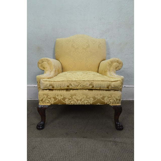 Georgian Style Custom Carved Mahogany Paw Foot Lounge Chair Bergere For Sale - Image 4 of 12