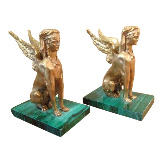 Bronze Pair of Antique Egyptian Sphinx Sculptures For Sale - Image 7 of 7