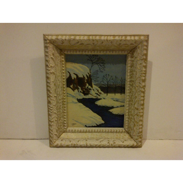 "Traditional Traditional Original Painting ""Snowy Stream"" by F. Shaffer 1961 For Sale - Image 3 of 7"