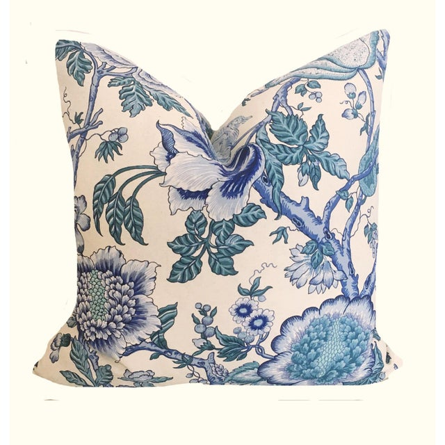 Asian Blue Jacobean Print Pillows - a Pair For Sale - Image 3 of 4