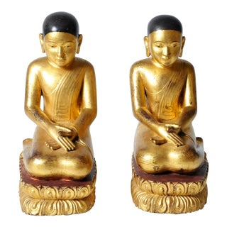 Giltwood Buddhist Apostles- a Pair For Sale