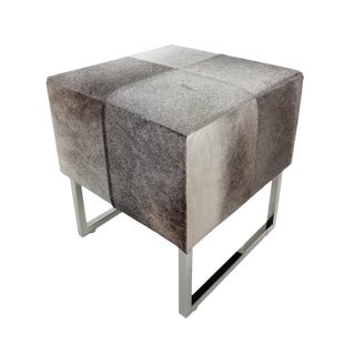 Square Grey Cowhide Stool For Sale