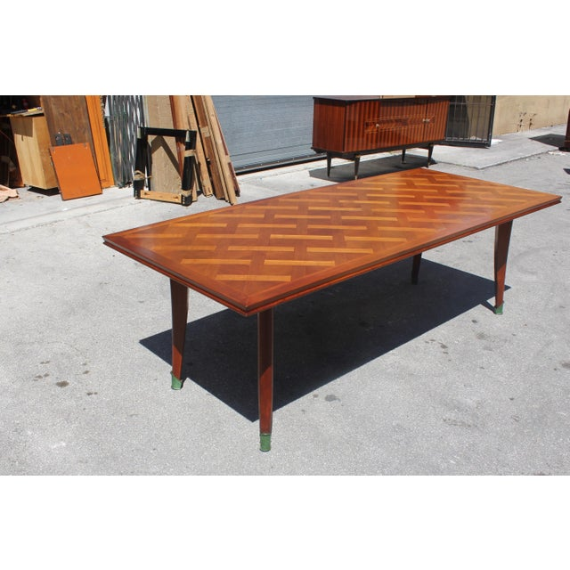Master Piece French Art Deco Dining Table Cherry Wood By Leon Jallot 1930s For Sale - Image 11 of 13