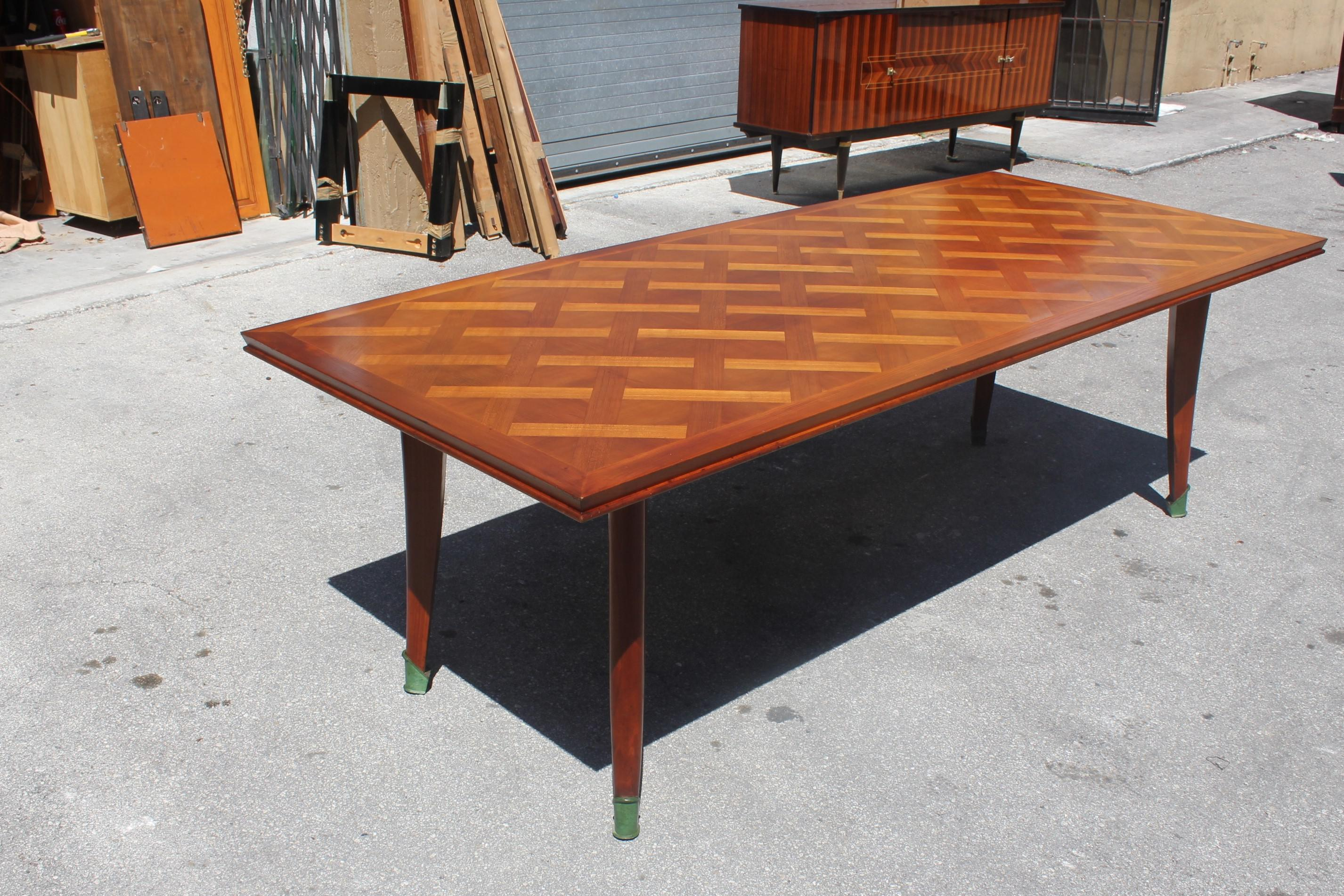 Master Piece French Art Deco Dining Table Cherry Wood By Leon Jallot 1930s  For Sale