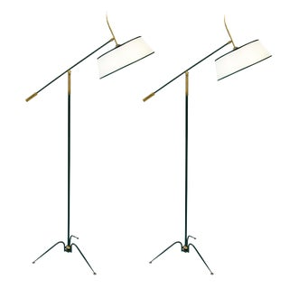 Mid-Century Unusual Metal Adjustable Standing Lamps - a Pair For Sale