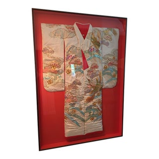 Framed Asian Silk Embroidered Kimono Gold Threads Egret Birds For Sale