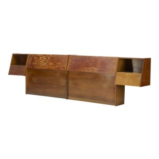 Milo Baughman for Glenn of California Walnut Storage Headboards, circa 1960 For Sale