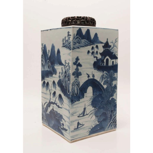 White 19th Century Chinese Export Canton Large Blue and White Tea Caddy For Sale - Image 8 of 11