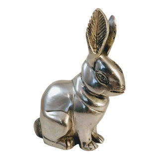 Late 20th Century Pewter Rabbit Figurine For Sale