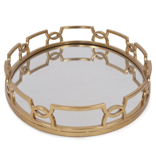 Contemporary Kenneth Ludwig Bright Gold Metal Tray For Sale - Image 3 of 5