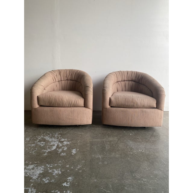 Pair of 1980s Barrel Chairs For Sale - Image 9 of 9
