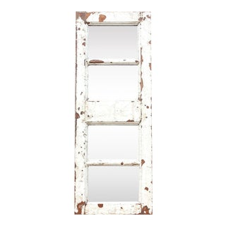 Antique White Paneled Window Mirror For Sale