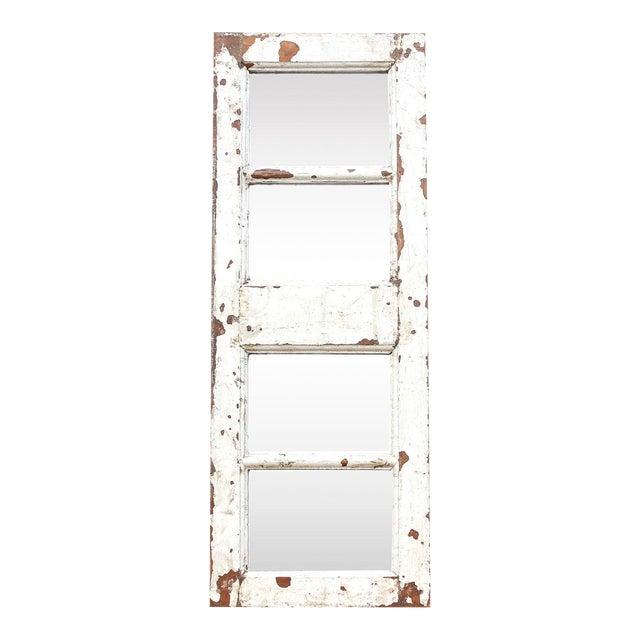 Antique White Paneled Window Mirror For Sale