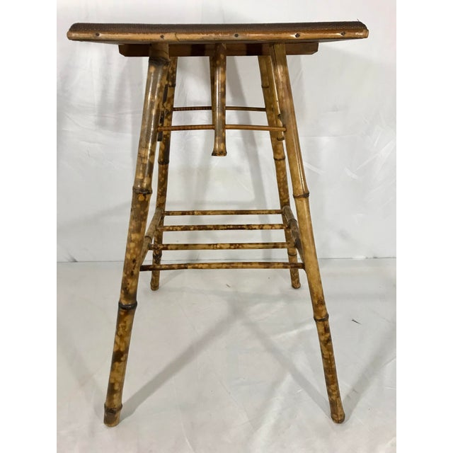 English Victorian Bamboo Side Table For Sale - Image 4 of 8