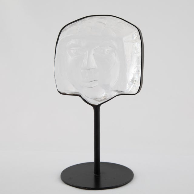 1960s Glass Face Sculpture on Iron Stand by Erik Hoglund for Kosta Boda Circa 1960s For Sale - Image 5 of 12