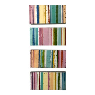 "Gina Cochran ""Confections"" Encaustic Striped Paintings on Cradled Panel - Set of 4 For Sale"