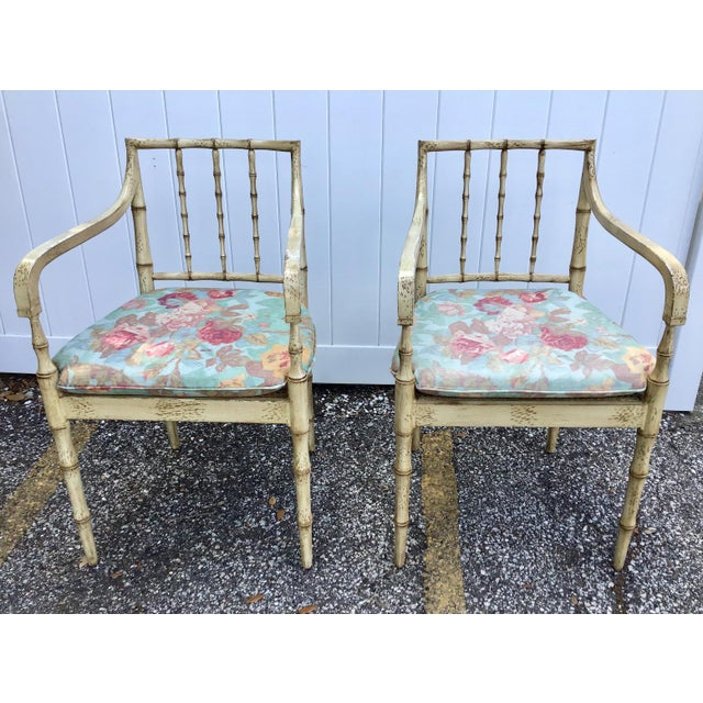 Faux Bamboo Chippendale Style Armchairs - a Pair For Sale - Image 12 of 13