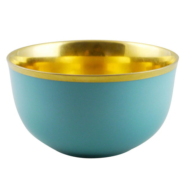"""Gold Pair of """"Schubert"""" Champagne Bowls Cobalt & Gold by Augarten For Sale - Image 8 of 12"""