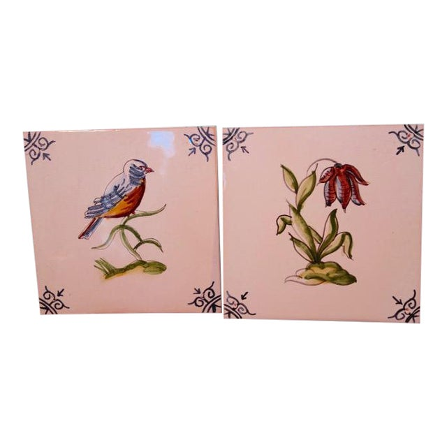 1940s Handpainted Spanish Tiles, Bird and Flower - a Pair For Sale