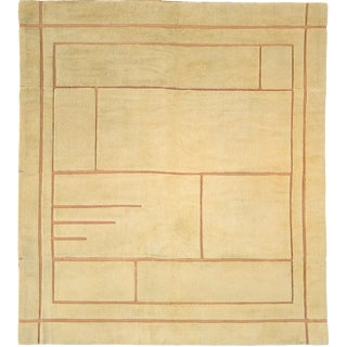 Early 20th Century French Savonnerie Art Deco Rug- 7′9″ × 8′11″ For Sale