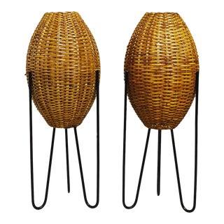 Paul Mayen for Habitat Style Mid Century Rattan and Iron Lamps - a Pair
