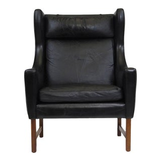 Fredrik Kayser Rosewood and Black Leather High-Back Danish Lounge Chair For Sale