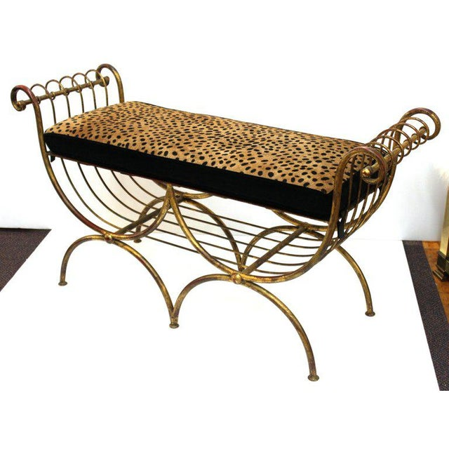 Metal Mid Century Modern Italian Bench in Gilt Iron & Faux Leopard Leather Seat For Sale - Image 7 of 12