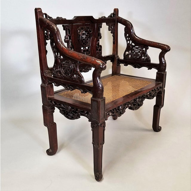 Asian C. 1900 Pair of Chinese Carved Benches For Sale - Image 3 of 10