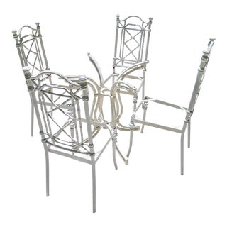Kessler Vintage White Faux Bamboo Patio Dining Set Chairs For Sale