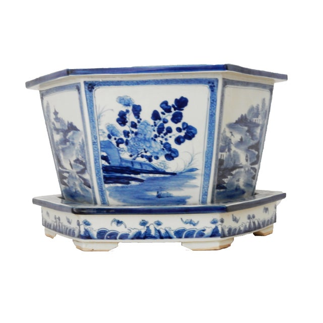 Blue & White Hexagonal Jardiniere - Image 2 of 8