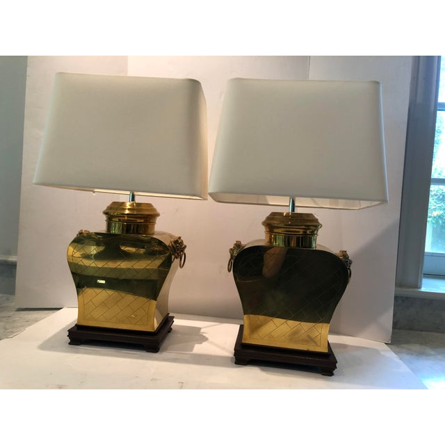 Vintage 1980s Etched Brass Lamps With Shades - a Pair For Sale - Image 12 of 13