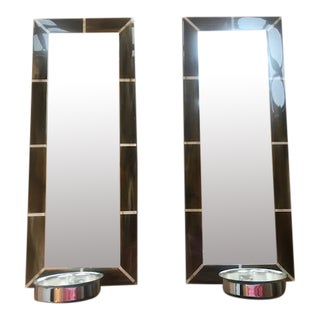 Vintage William Sonoma Home Beveled Mirror and Pillar Candle Sconces - a Pair For Sale