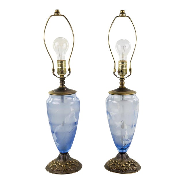 Vintage 19th Century Etched Glass Table Lamps - A Pair For Sale