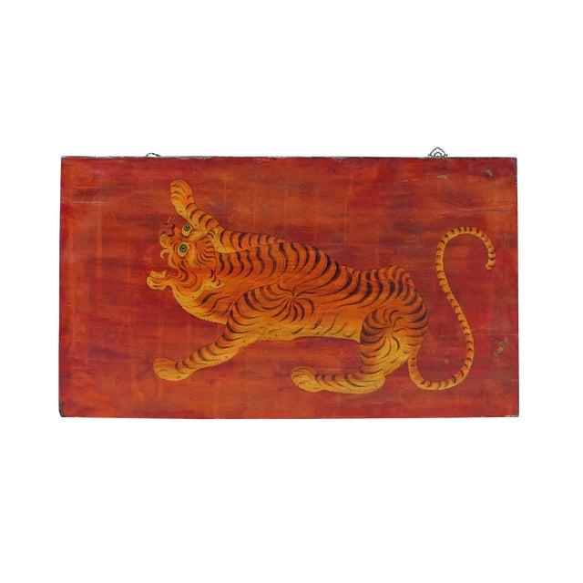Chinese Tibetan Vintage Tiger Animal Graphic Wood Wall Panel For Sale