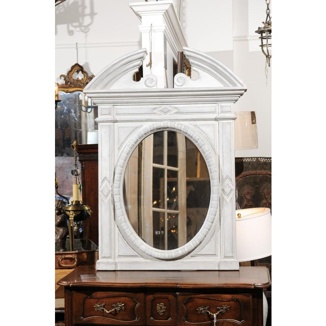 White Renaissance Style 1850s Belgian Painted Oval Mirror with Broken Arch Pediment For Sale - Image 8 of 12