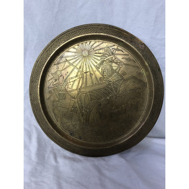 20th Century Egyptian Brass Etched Plate For Sale In Houston - Image 6 of 8