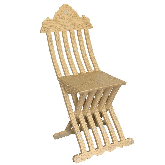 Moroccan Style Hand Carved With Touch of Mother of Pearl Inlay Folding Chair For Sale - Image 9 of 9